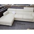 Sammy mini valódi bőr sarok kanapé ülőgarnitúra balos vaj színben ágyazható ágyneműtartós 220x160 cm fotó