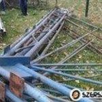 Csarnok vasváz bontott tetőszerkezet acélváz 8m vasvázas szerkezet csarnokváz csarnokszerkezet fotó