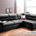 Jana valódi bőr sarok kanapé ülőgarnitúra nyitható fekete jobbos fotó