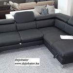 Driver valódi bőr fekete sarok kanapé ülőgarnitúra Jobbos fix modell fotó